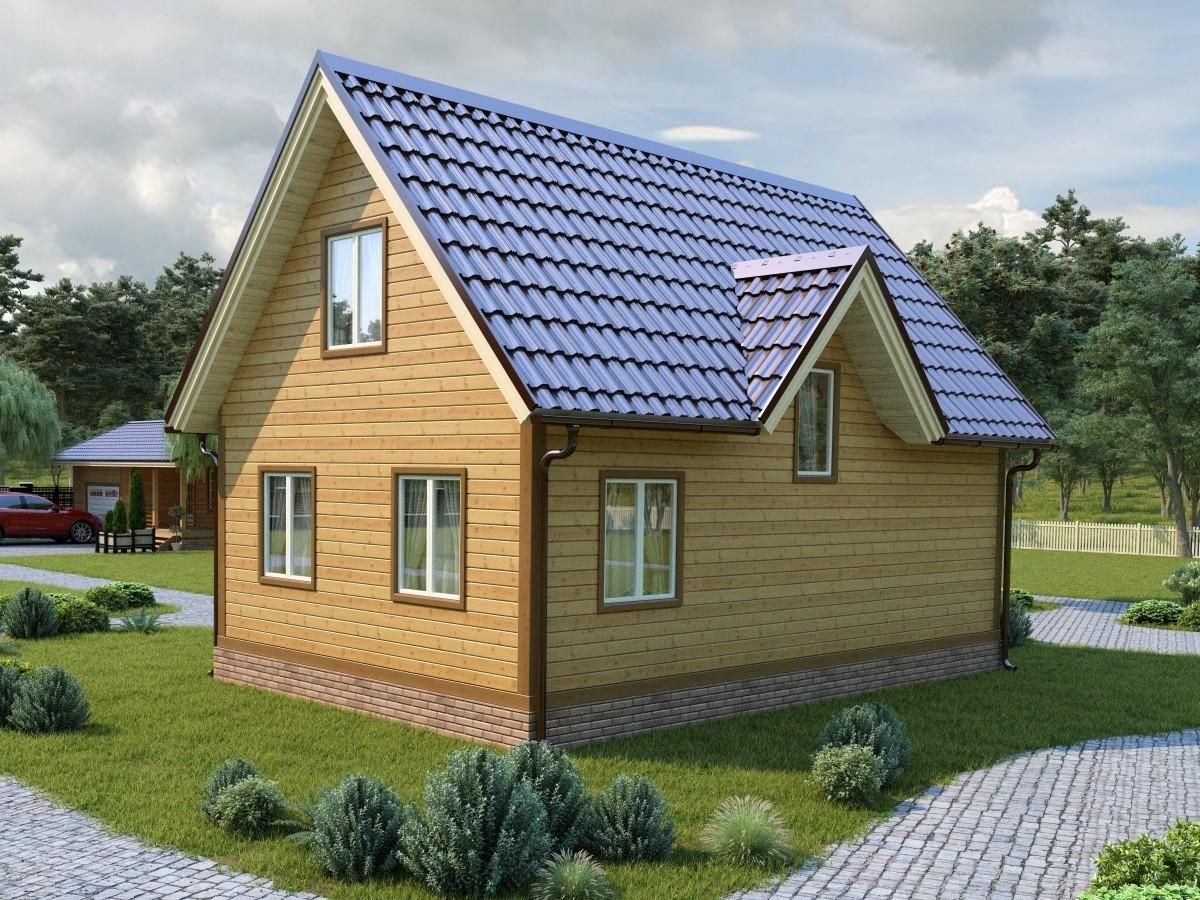 Дом из бруса 6х6 с мансардой 72м2