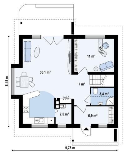 Дом из пеноблока 8х9 с мансардой 144м2